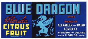 Blue Dragon Brand Vintage Pierson Deland Florida Citrus Crate Label