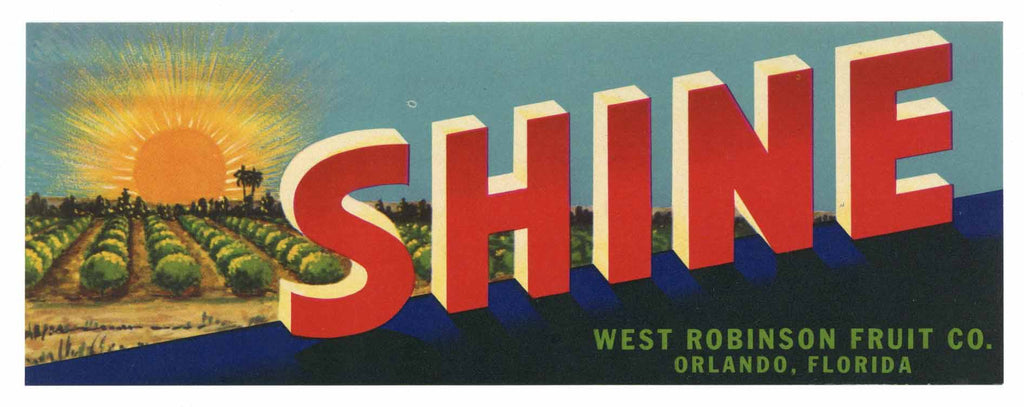 Shine Brand Vintage Orlando Florida Citrus Crate Label, h