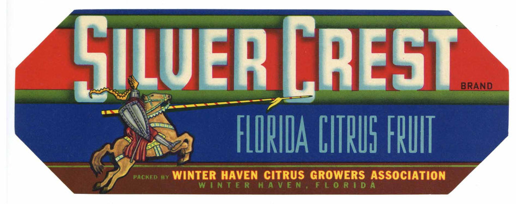 Silver Crest Brand Vintage Winter Haven Florida Citrus Crate Label