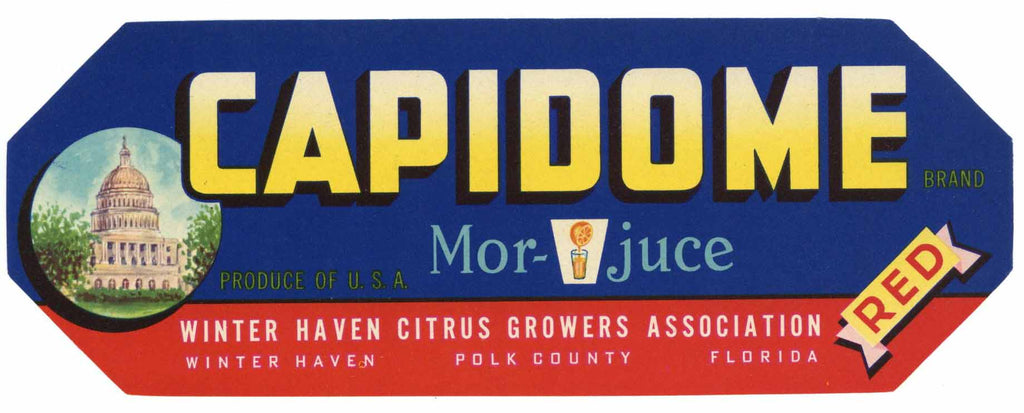 Capidome Brand Vintage Winter Haven Florida Citrus Crate Label, red