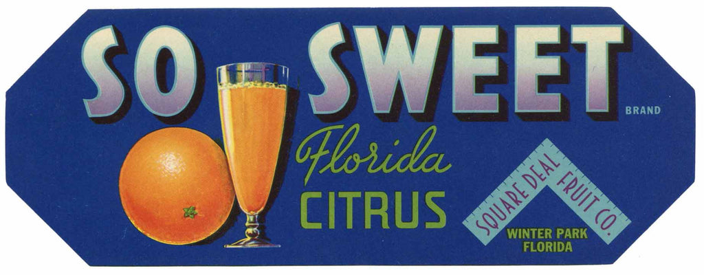 So Sweet Brand Vintage Winter Park Florida Citrus Crate Label