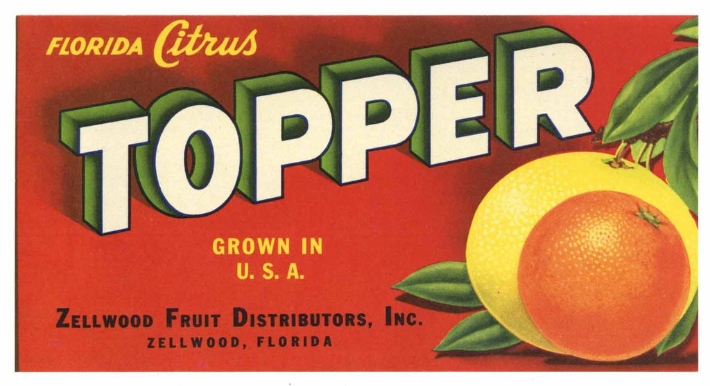Topper Brand Vintage Zellwood Florida Citrus Crate Label