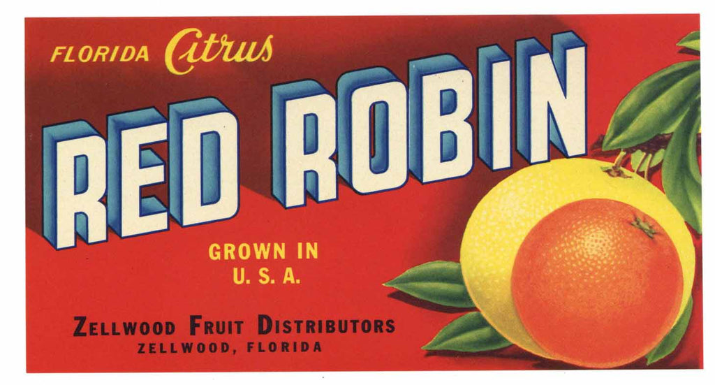 Red Robin Brand Vintage Zellwood Florida Citrus Crate Label