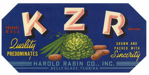 K Z R Brand Vintage Belle Glade Florida Vegetable Crate Label