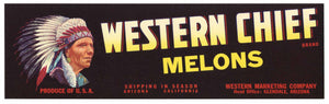 Western Chief Brand Vintage Glendale Arizona Melon Crate Label
