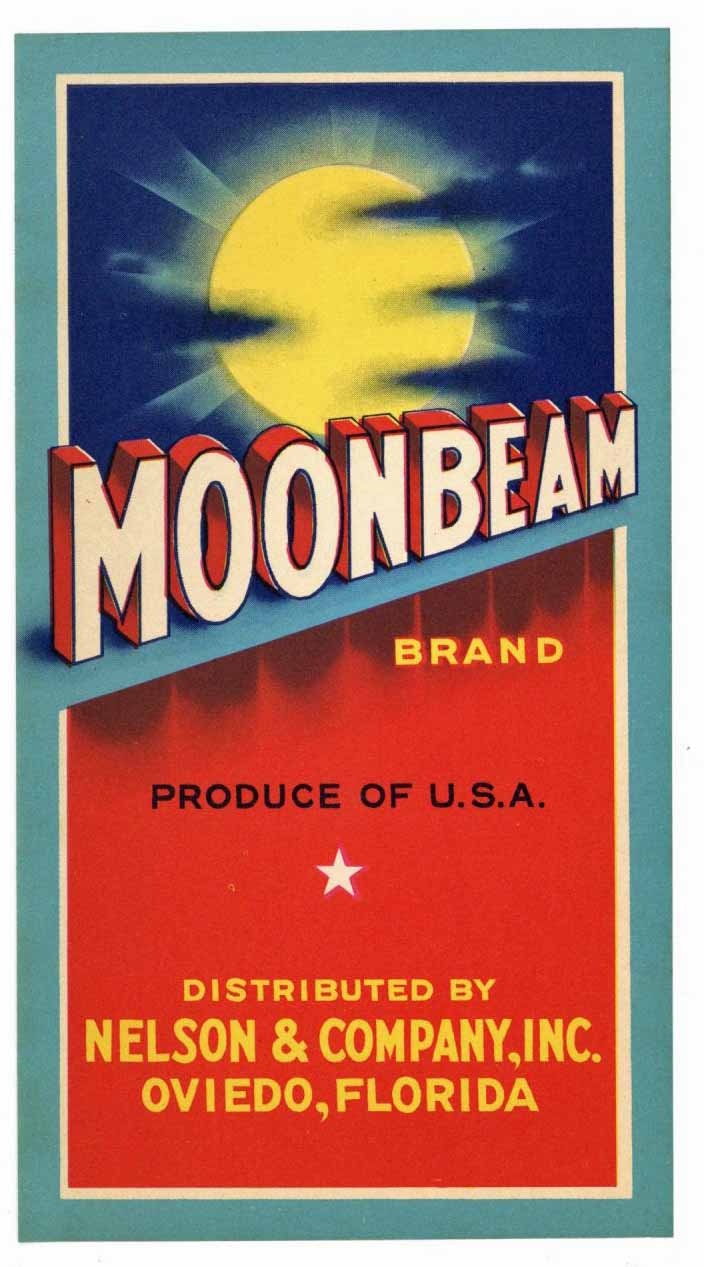 Moonbeam Brand Vintage Oviedo Florida Citrus Crate Label, strip
