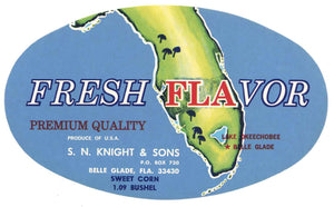 Fresh Flavor Brand Vintage Belle Glade Florida Vegetable Crate Label