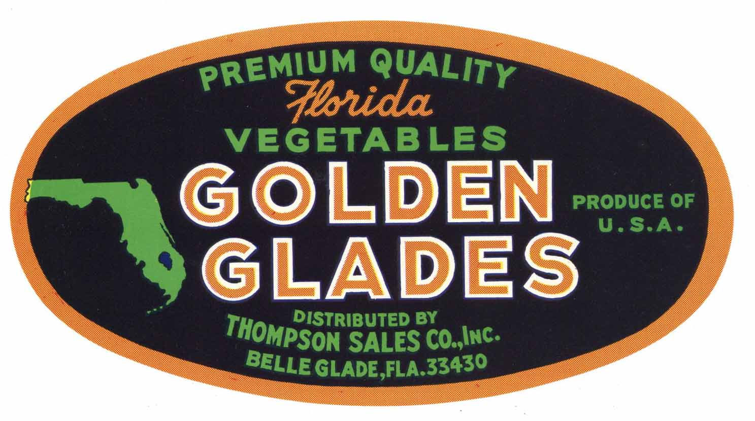 Golden Glades Brand Vintage Belle Glade Florida Vegetable Crate Label