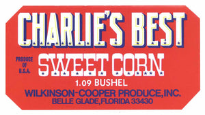 Charlie's Best Brand Vintage Belle Glade Florida Corn Crate Label, red