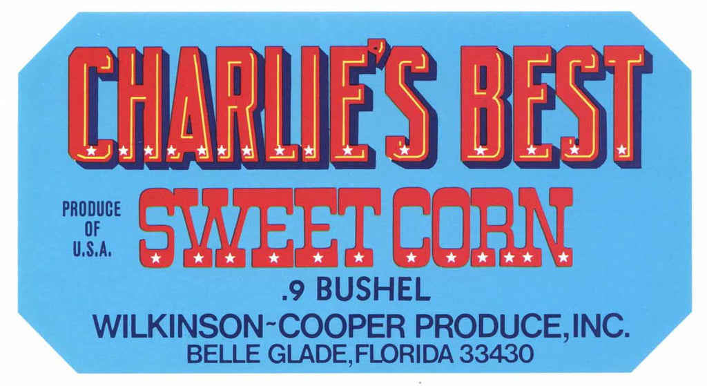Charlie's Best Brand Vintage Belle Glade Florida Corn Crate Label, blue