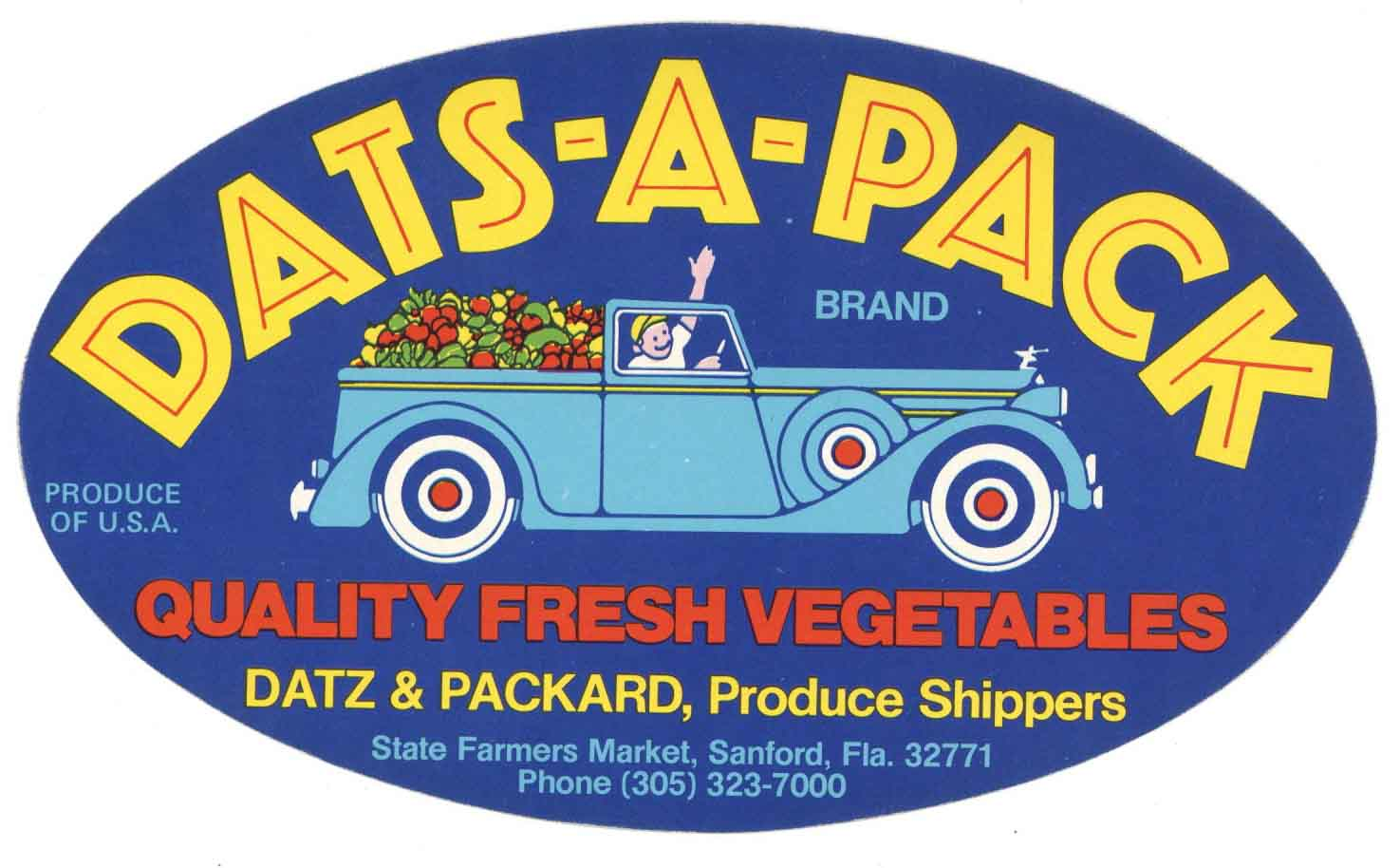 Dats-A-Pack Brand Vintage Sanford Florida Vegetable Crate Label