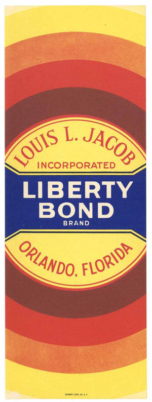Liberty Bond Brand Vintage Orlando Florida Citrus Crate Label