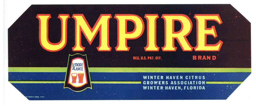 Umpire Brand Vintage Winter Haven Florida Citrus Crate Label