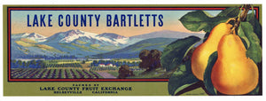 Lake County Bartletts Brand Vintage Kelseyville Pear Crate Label