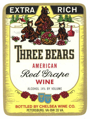 Three Bears Brand Vintage Petersburg Virginia Wine Label