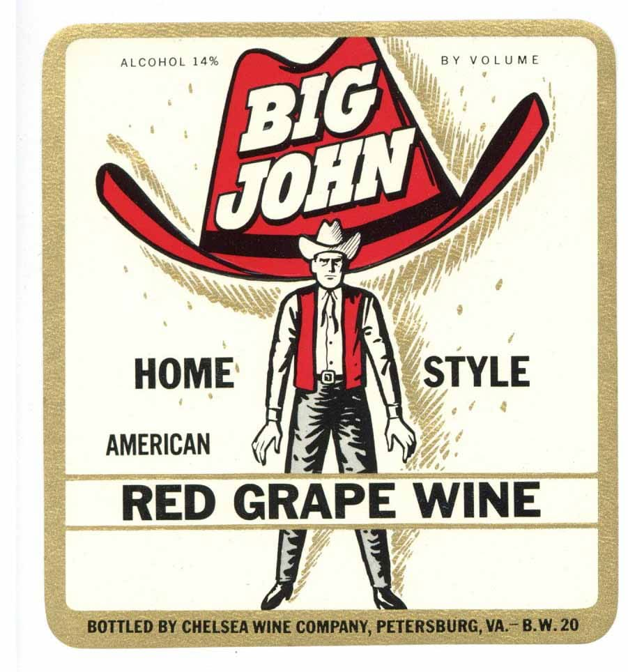Big John Brand Vintage Petersburg Virginia Wine Label