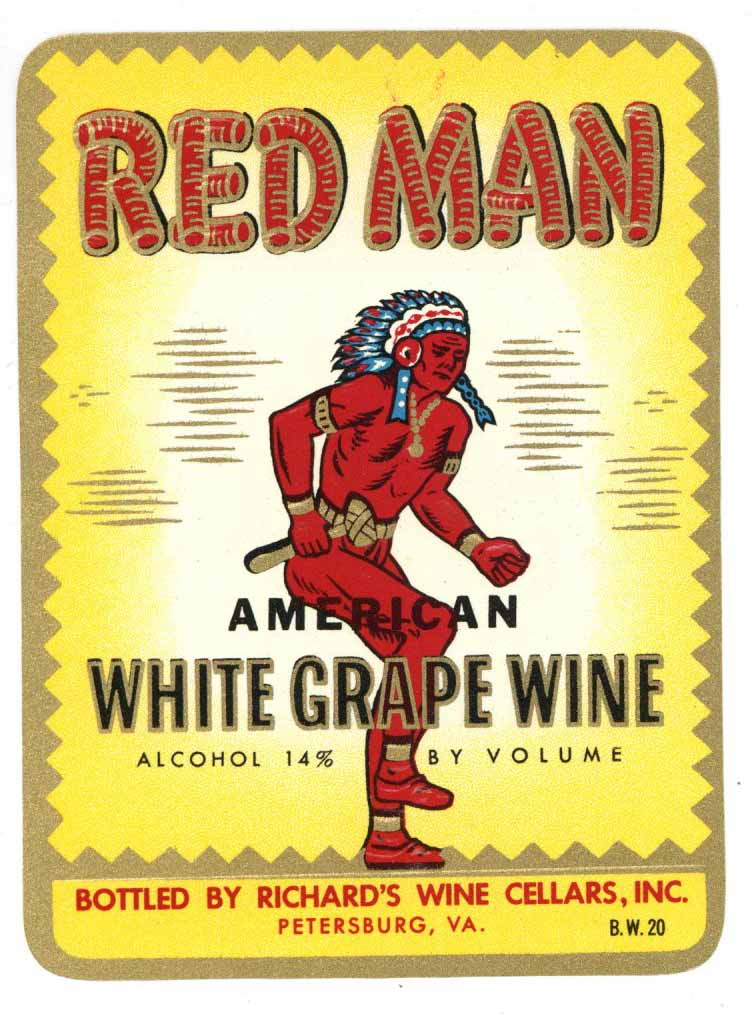 Red Man Brand Vintage Petersburg Virginia Grape Wine Label