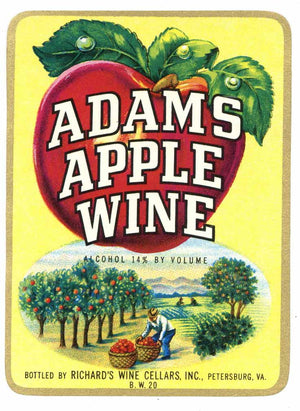 Adams Apple Brand Vintage Petersburg Virginia Wine Label