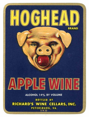 Hog Head Brand Vintage Petersburg Virginia Apple Wine Label