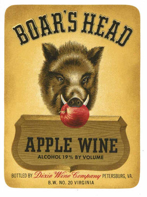 Boar's Head Brand Vintage Petersburg Virginia Apple Wine Label