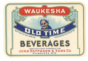 Old Time Brand Vintage Waukesha Beverage Bottle Label