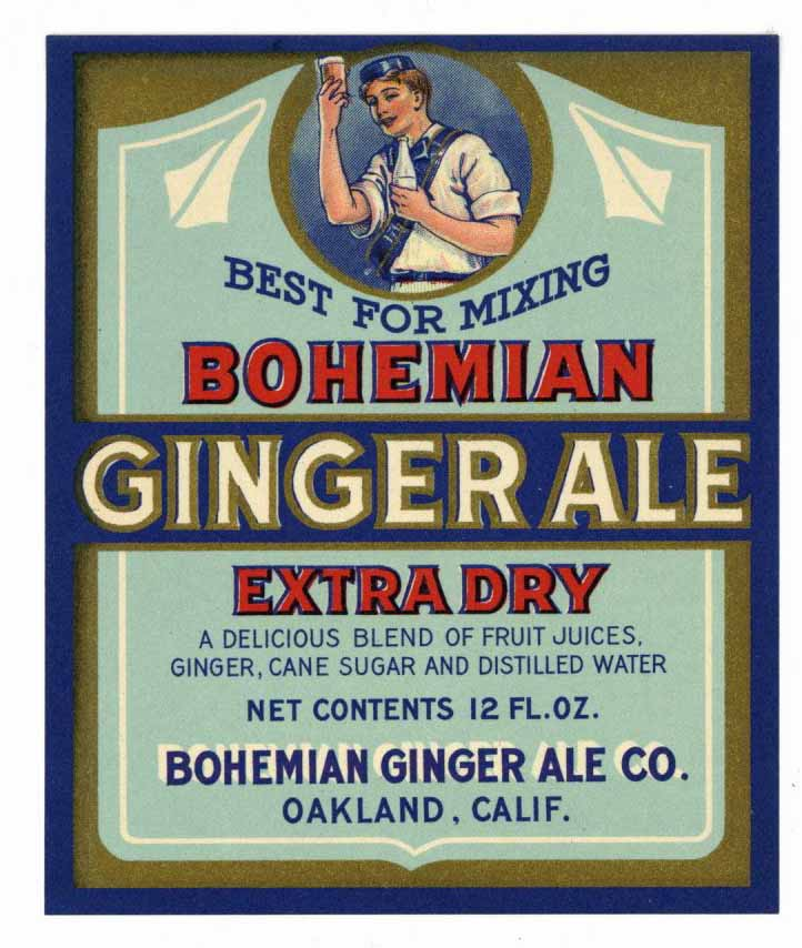 Bohemian Brand Vintage Oakland California Ginger Ale Bottle Label