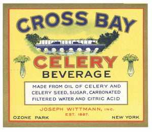 Cross Bay Brand Vintage Celery Beverage Bottle Label