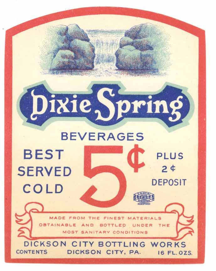 Dixie Springs Brand Vintage Soda Bottle Label