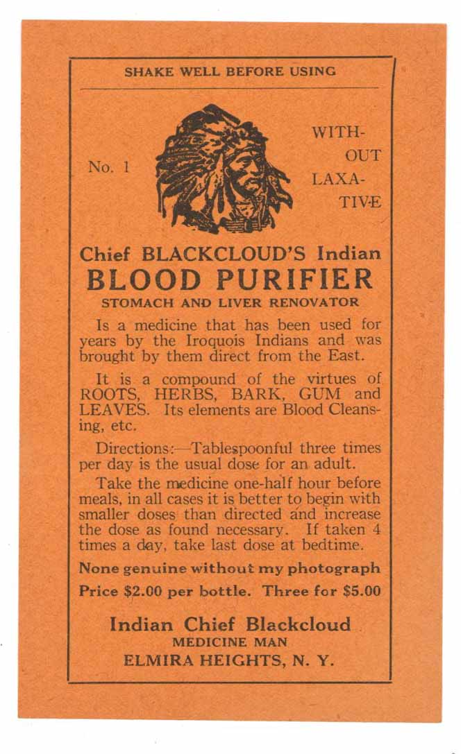Chief Blackcloud's Indian Blood Purifier Brand Vintage Bottle Label