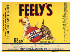 Dr. Feely's Brand Vintage Dog Pine Shampoo Bottle Label