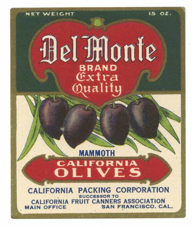 Del Monte Brand Vintage Olive Bottle Label