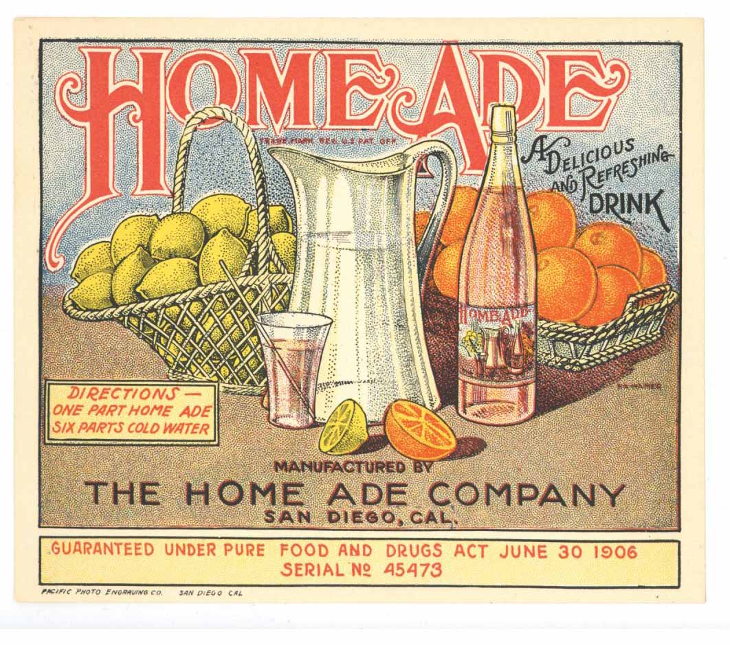 Home Ade Brand Vintage San Diego Bottle Label