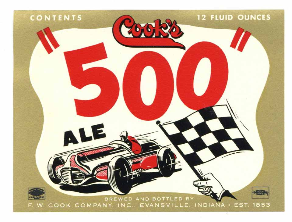 Cook's 500 Brand Vintage Indiana Ale Bottle Label