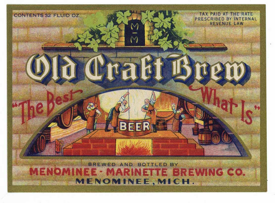 Old Craft Brew Brand Vintage Michigan Beer Bottle Label