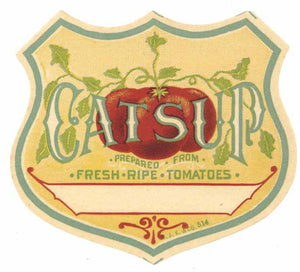 Catsup Brand Vintage Stock Bottle Label