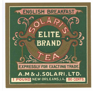 Solari's Elite Brand New Orleans Louisiana Tea Label
