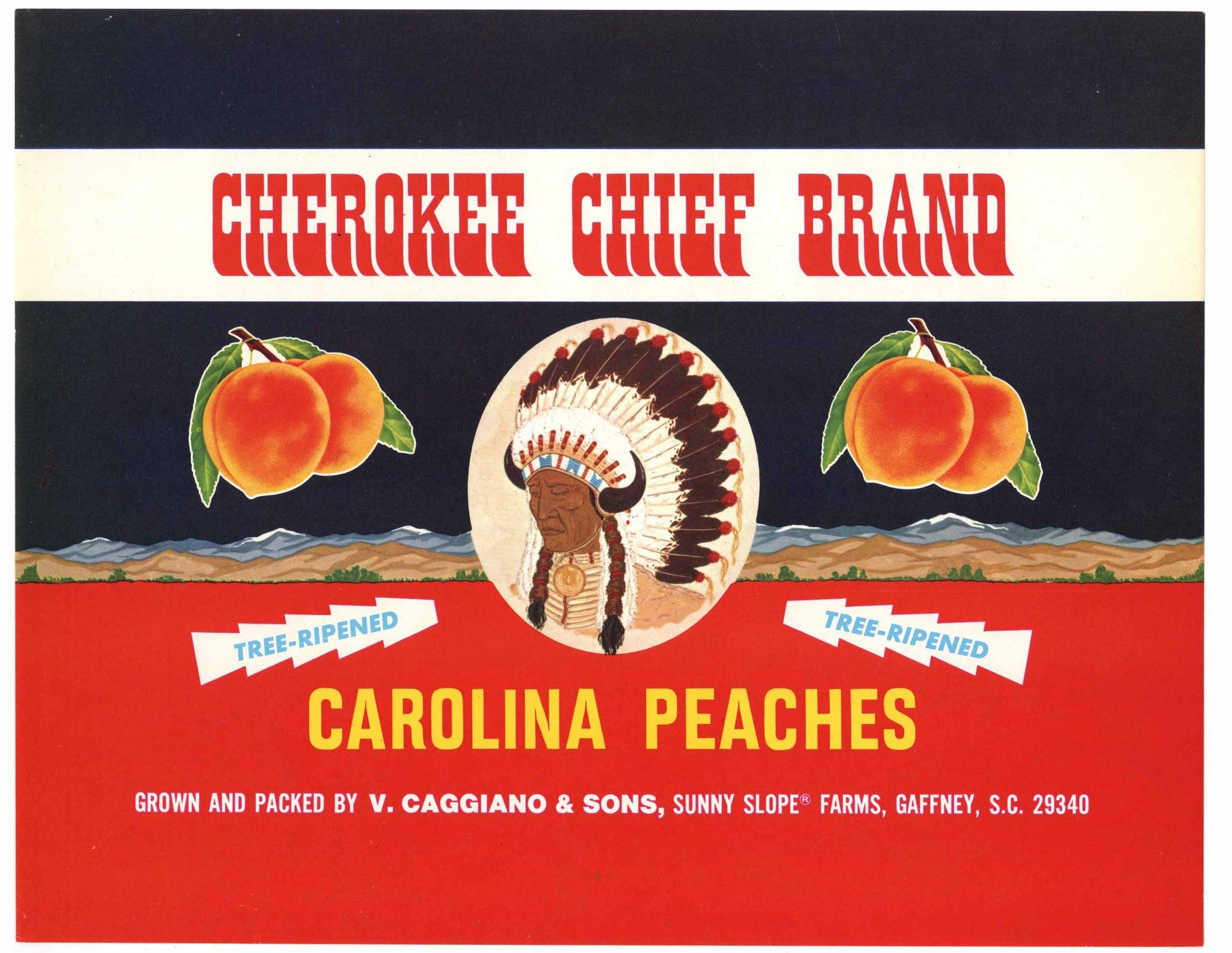 Cherokee Chief Brand Vintage Gaffney South Carolina Peach Crate Label