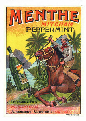Menthe Brand Vintage Peppermint Bottle Label