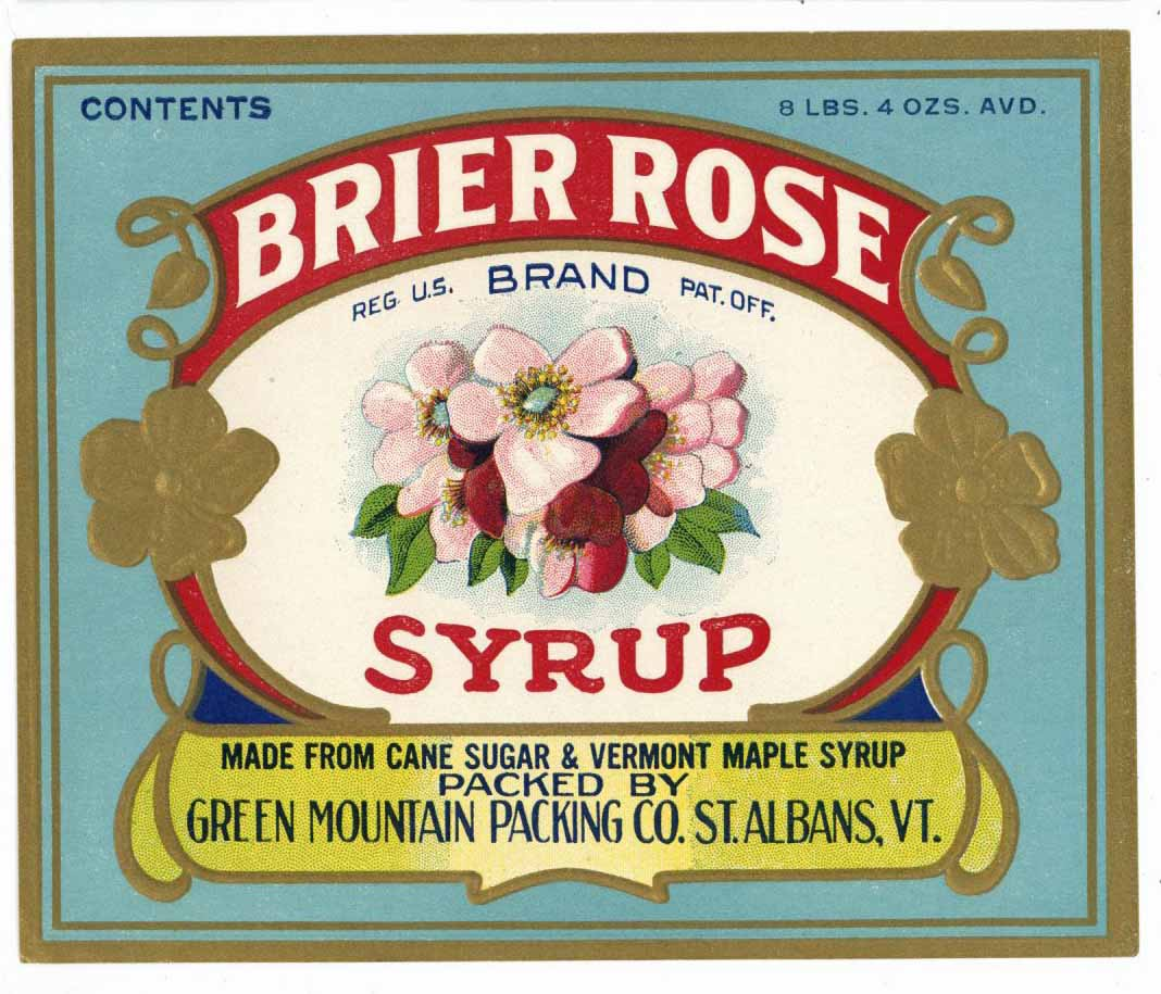 Brier Rose Brand Vintage Vermont Syrup Bottle Label
