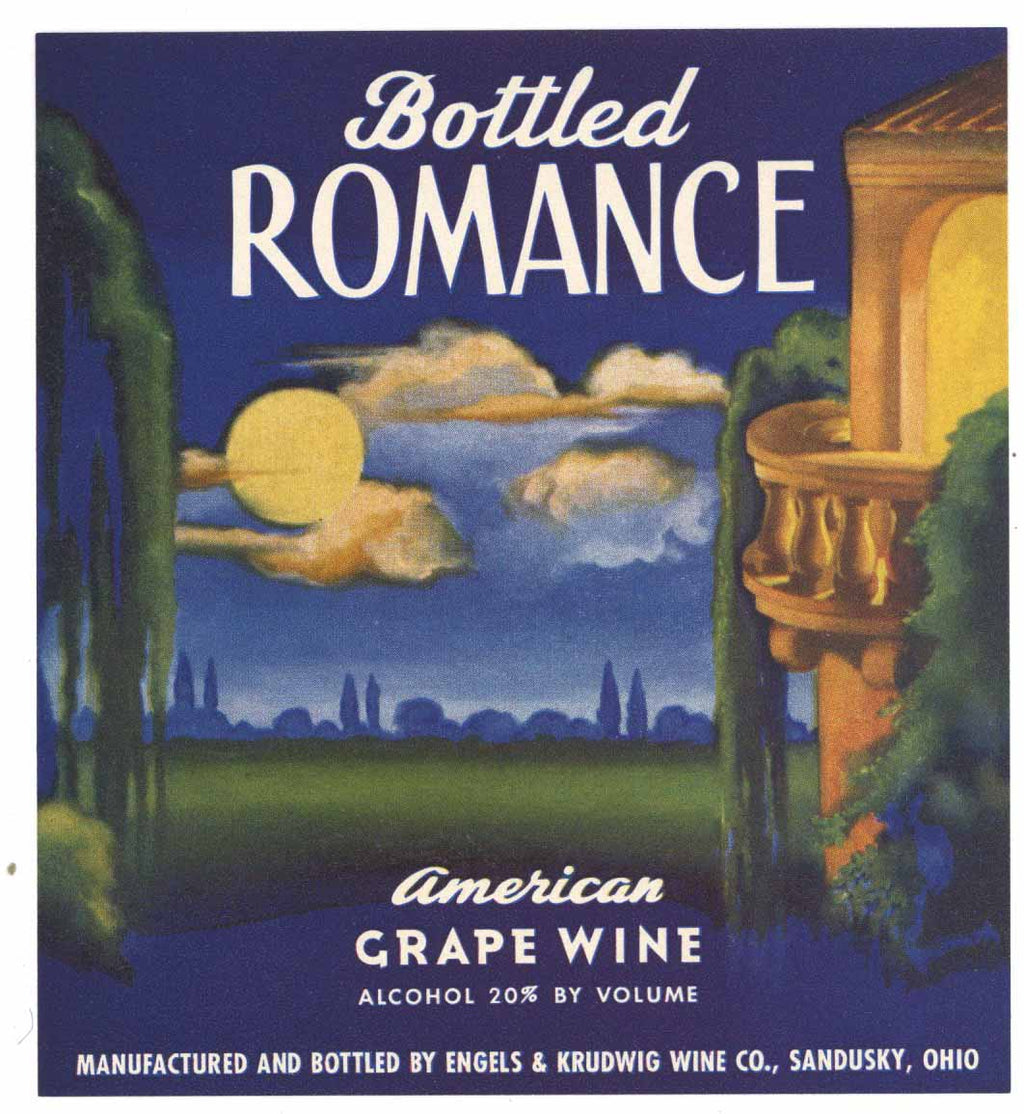 Bottled Romance Brand Vintage Sandusky, Ohio Wine Label