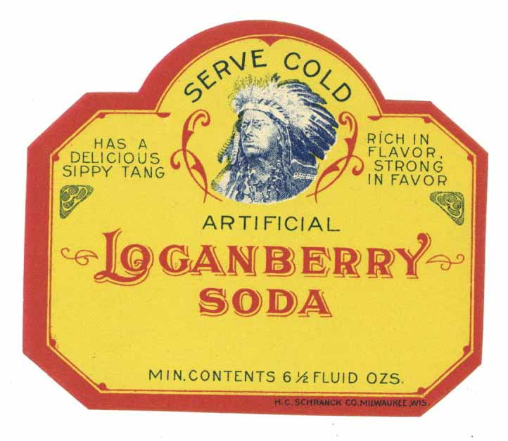 Loganberry Soda Brand Vintage Bottle Label