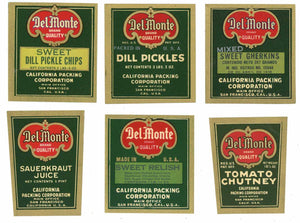 Del Monte Brand Vintage Condiment Label Set of 6