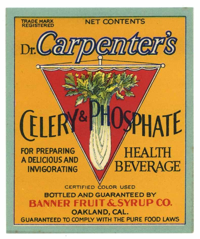 Dr. Carpenter's Brand Vintage Celery & Phosphate Health Beverage Bottle Label