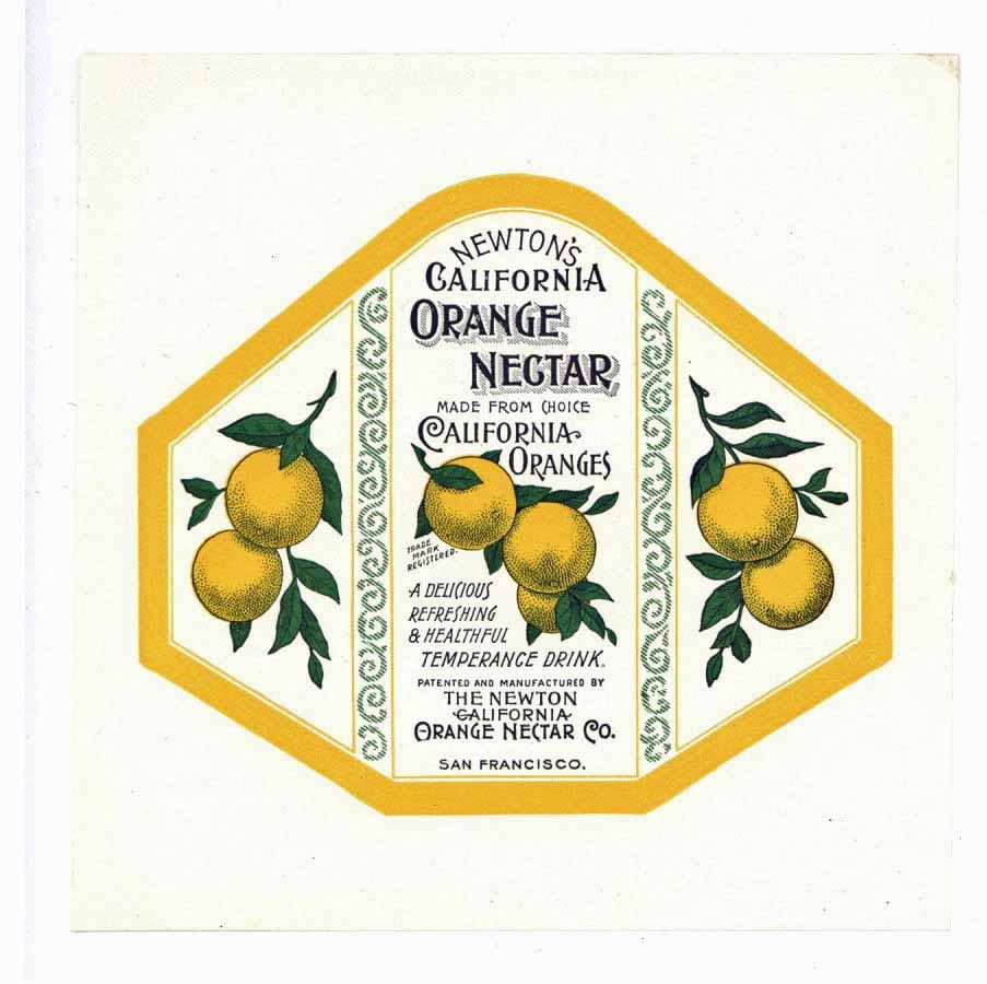 Newton's California Orange Nectar Brand Vintage Bottle Label