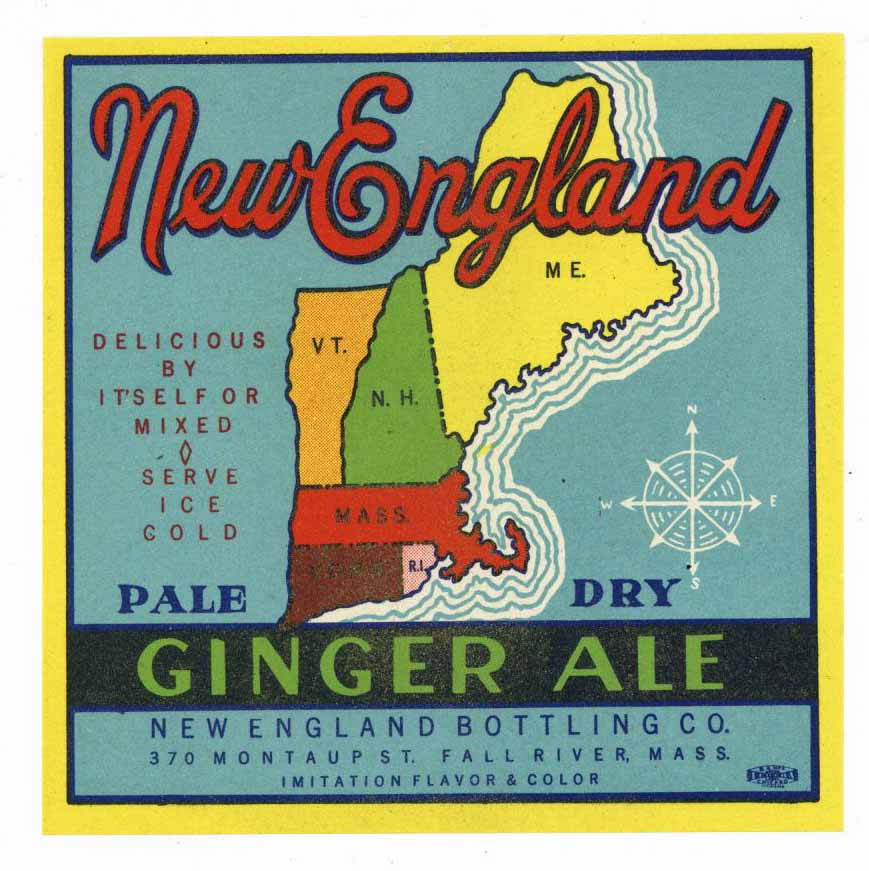 New England Brand Vintage Ginger Ale Bottle Label