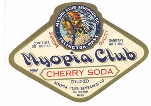 Myopia Club Brand Vintage Islingtn Massachusetts Cherry Soda Label