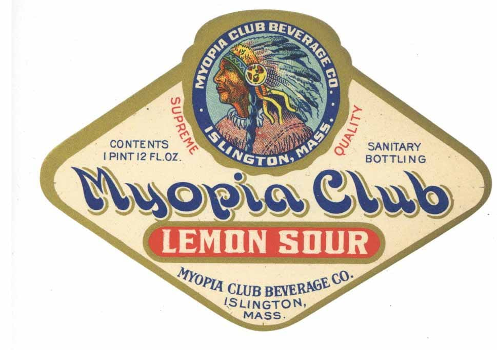 Myopia Club Brand Vintage Islingtn Massachusetts Lemon Sour Soda Label