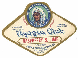 Myopia Club Brand Vintage Islingtn Massachusetts Raspberry & Lime Soda Label