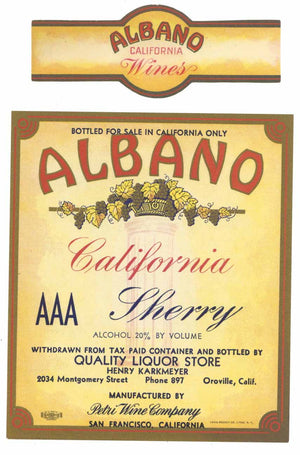 Albano Brand Vintage Oroville Sherry Wine Label