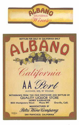 Albano Brand Vintage Oroville Port Wine Label
